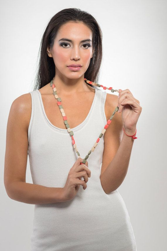 Long tricolor wooden necklace natural grey and coral by LauraRosa