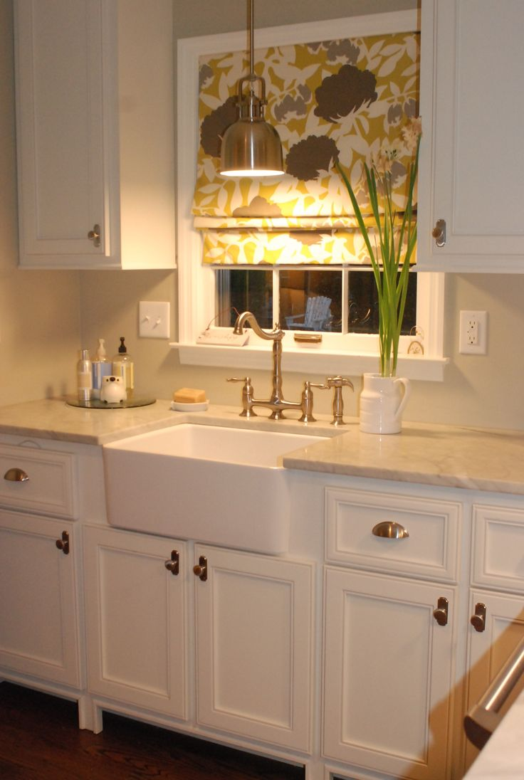 over the sink lighting. love the light colors with fun graphic fabric above sink over lighting