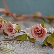 Украшения ручной работы. Ярмарка Мастеров - ручная работа Нежный веночек из роз.. Handmade.