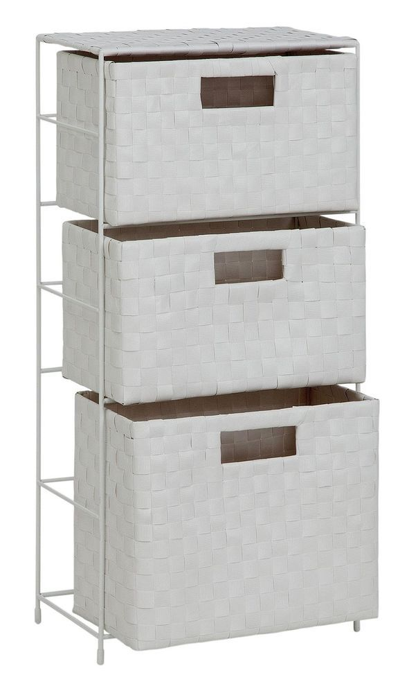 Large White Fabric Storage Cabinet 3 Wide Drawers Accessories Bathroom Unit New Fabric Storage Storage Bathroom Units