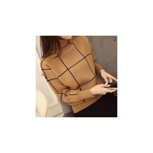 Plaid Long-Sleeve Knit Sweater (1,450 INR) ❤ liked on Polyvore featuring tops, sweaters, women, tartan sweater, knit sweater, long sleeve tops, sleeve top and knit top