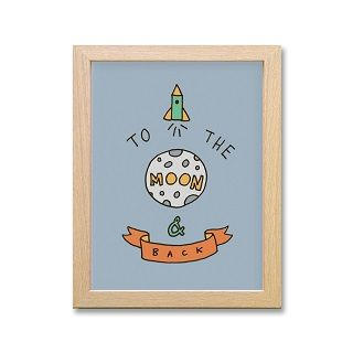TO THE MOON & BACK FRAMED PRINT BLUE - $39.95 - I will fly you to the moon and back if you'll be my baby!! Print from an original drawing by Emma Patterson. Printed on quality archive paper and mounted in a birch finish Ribba frame (21 x 26cm), this sweet little piece of art is perfect for your little one's bedroom. #sweetcreations #kids #baby #boys #bedroom #nursery #decor #HomelyCreatures