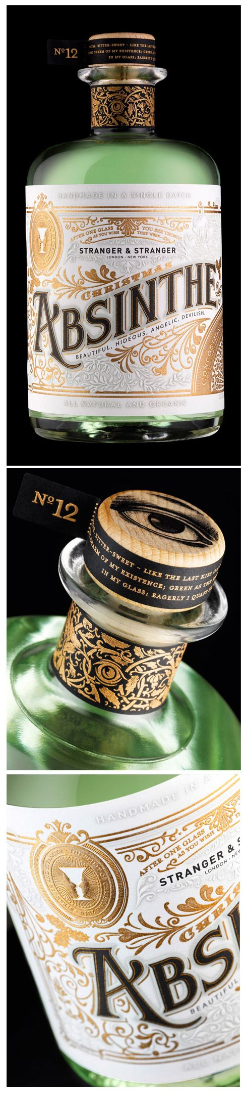 Very distinctive and attractive label for 'Absinthe' designed by Stranger & Stranger. Printed by Baddeley Brothers.