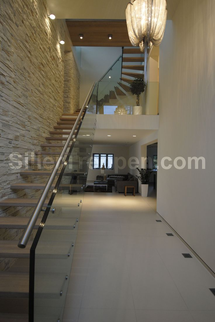 giant structural glass stair, floating treads, stair railing 6meter length http://www ...