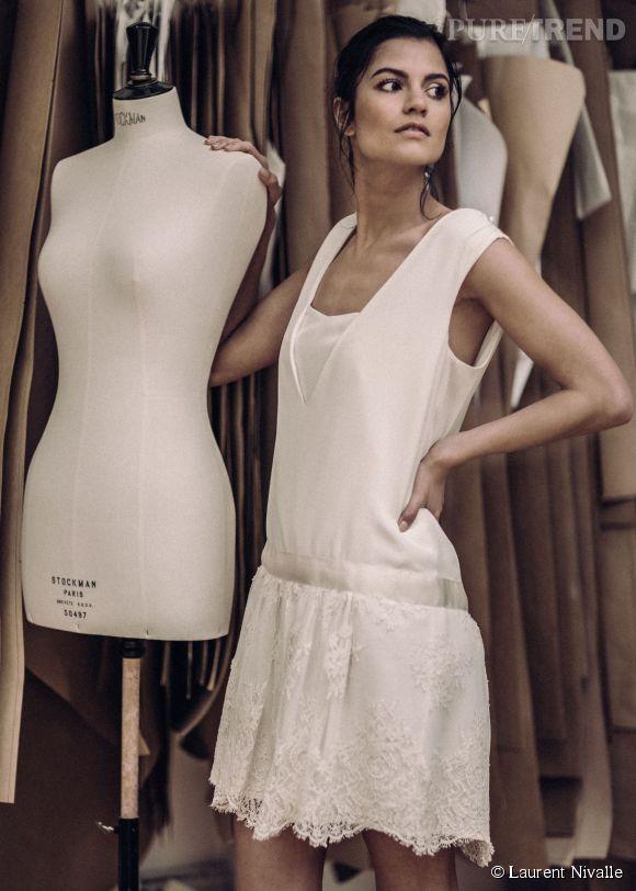 "Collection ""mariage civil"" Laure de Sagazan : la robe ""Sartre"". Prix : 950€"