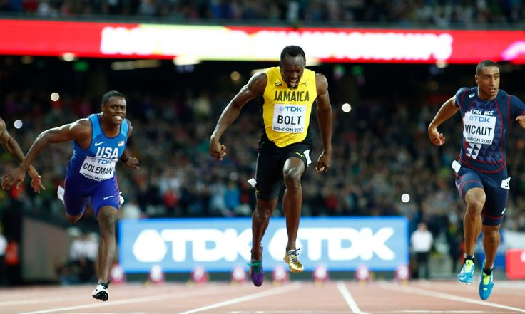 Rolling report: Usain Bolt is chasing 100m gold while home hopes Laura Muir and Katarina Johnson-Thompson are also in action. Join Lawrence Ostlere