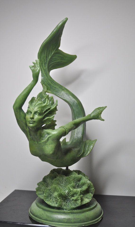 Mermaid Statue Jade Finish by Dellamorteco on Etsy, $80.00_Oh my, I want this!