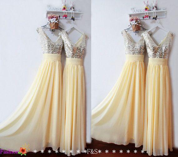Long Prom Dress,Sequin Yellow Prom Evening Dress,Sexy Sequin Bridesmaid Dress Long,Chiffon Prom Graduation Dress,Elegant A-line Prom Dress