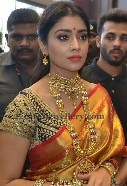 Jewellery Designs: Shriya in Antique Sets with Jhumkas
