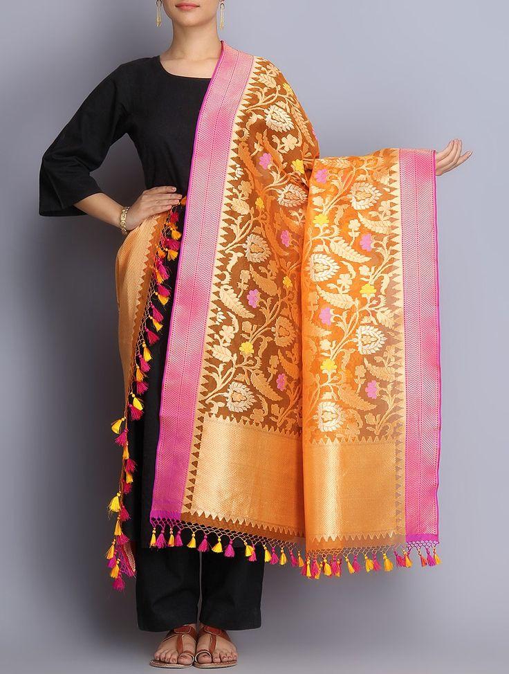 Buy Orange Pink Handwoven Benarasi Kora Silk Dupatta with Tassels Dupattas Woven Silken Wonders Celebrate the Weaves of Benaras Jaypore Online at Jaypore.com