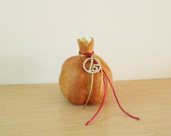 New Year's Lucky pomegranate, ceramic pomegranate with '15, alloy charm and ribbons, ochre brown pomegranate, good luck pomegranate