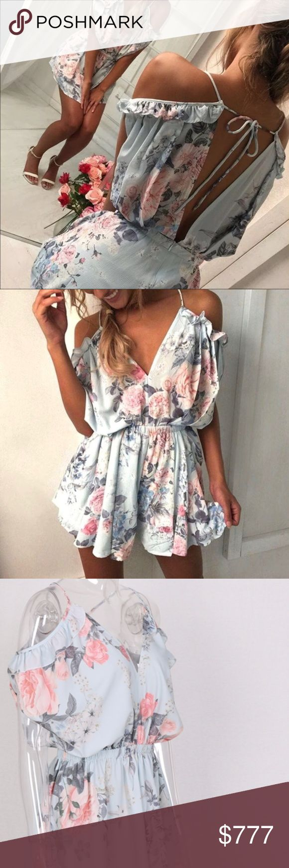 Blue Romper Floral Open Back Off Shoulder Blue Romper --★  ★adorable flowy blue floral print off the shoulder open back boho beachy come and get me playsuit :)  sexy flowy playsuit, loose fitting playsuit, floral print, romper with ruffle shoulders, open back, sexy playsuit romper, boho romper, bohemian romper, beach cover up,   perfect for summer, autumn, spring ⭐️Coachella, Vegas, Beach, Vacation  Last one!! :) Pants Jumpsuits & Rompers