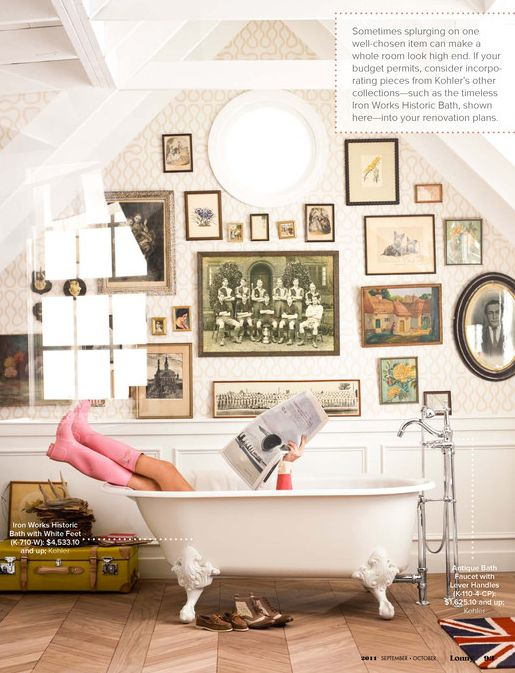 I love an old-timey picture wall of old family photos in the bathroom and/or the bedroom.