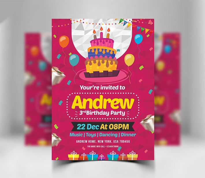 Awesome Birthday Invitation Card Design Psd Download