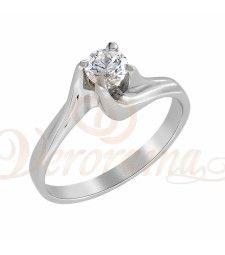 Μονόπετρo δαχτυλίδι Κ18 λευκόχρυσο με διαμάντι κοπής brilliant - MBR_059