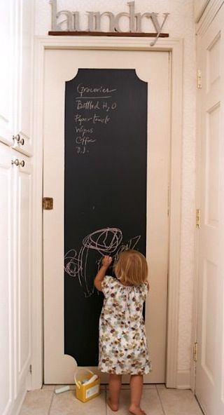 chalkboard pocket door...except I will need to exchange for a dry erase board because I hate all things chalk related