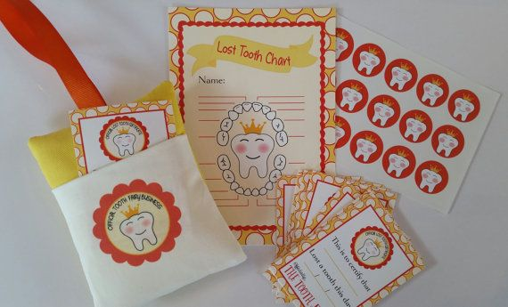 Isnt it exciting when your lil one is about to loose a tooth? What better way to be ready for the big event than with an Official tooth fairy business boxed kit! Comes with all to prepare you so youre ready for that big night when the Tooth Fairy arrives! The kit includes 1. Tooth Fairy pillow with loop for hanging.(4x5) 2.A Tooth Fairy chart to keep track of their lost teeth. (5×7) 3.Official Tooth Fairy certificates that have been signed by the fairy herself :) Includes a set of 20,so…