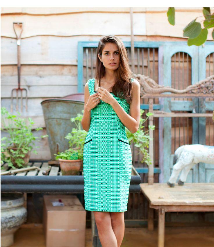 Edina Ronay Green Jacquard Sleeveless Dress