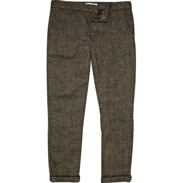 River Island Grey flecked casual skinny fit trousers (25 AUD) ❤ liked on Polyvore featuring men's fashion, men's clothing, men's pants, men's casual pants, pants, men, sale, mens polyester pants, mens pants and mens grey dress pants