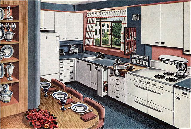 nice pull out cabinet by dishwasher in this 1946 American Gas Assn - Buffet Kitchen by American Vintage Home, via Flickr