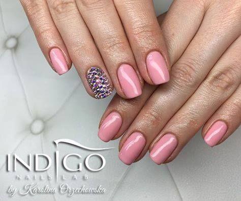 Gel Polish Candy Girl by Indigo Educator Karolina Orzechowska #nails #nail #natural #pink #swarovski #blingbling #indigo #powder