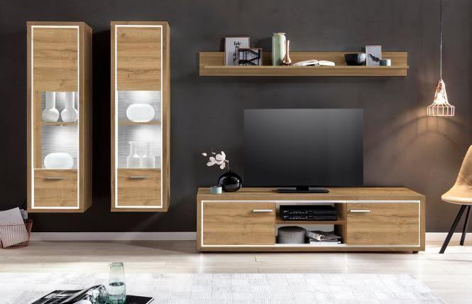 Tv Mobel Holz Danisches Bettenlager Tv Mobel Hifi Geschlossen Fernsehschrank Moderne Tv Wand Tv Rack 55 Zoll Wohnen Wohnwand Wohnwand Eiche