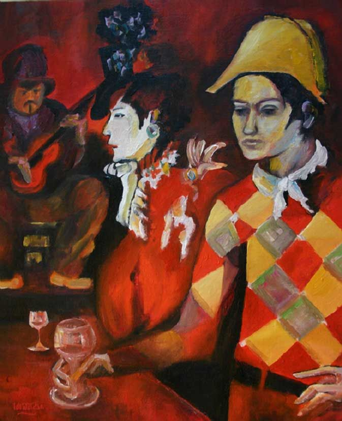 Pablo Picasso Paintings Rose Period Harlequin with glass