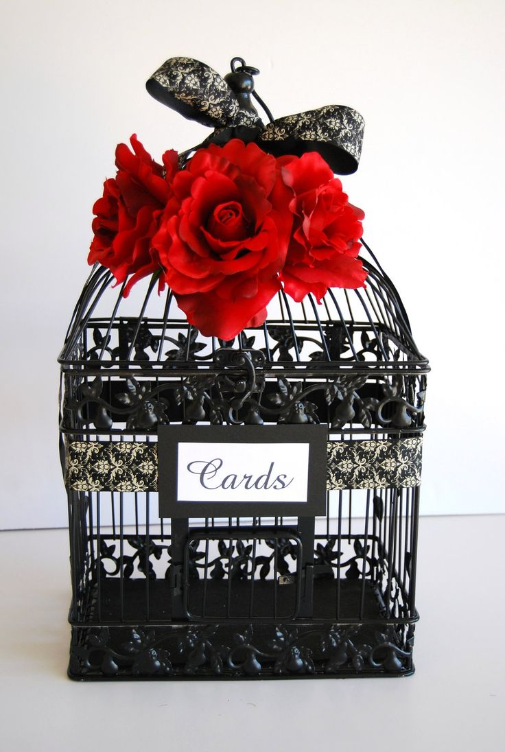 Large BLACK Wedding Bird Cage Card Holder - Black and Ivory Damask Ribbon with Red Roses. $63.00, via Etsy.