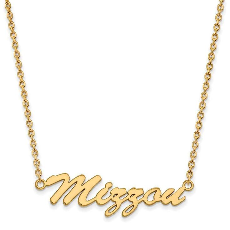 Sterling Silver w/GP LogoArt U of Missouri Medium Pendant w/Necklace