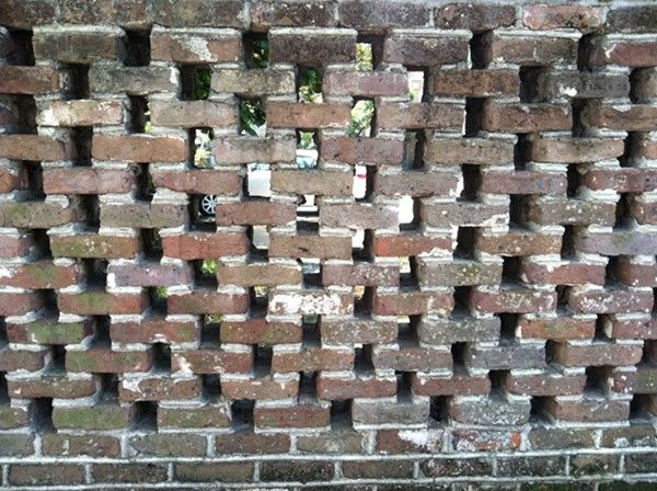 Pierced Old Brick Wall Downtown Charleston