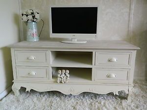 Cream TV Stand Cabinet Shabby Chic Television Stand Dvd Lounge Living Country | eBay