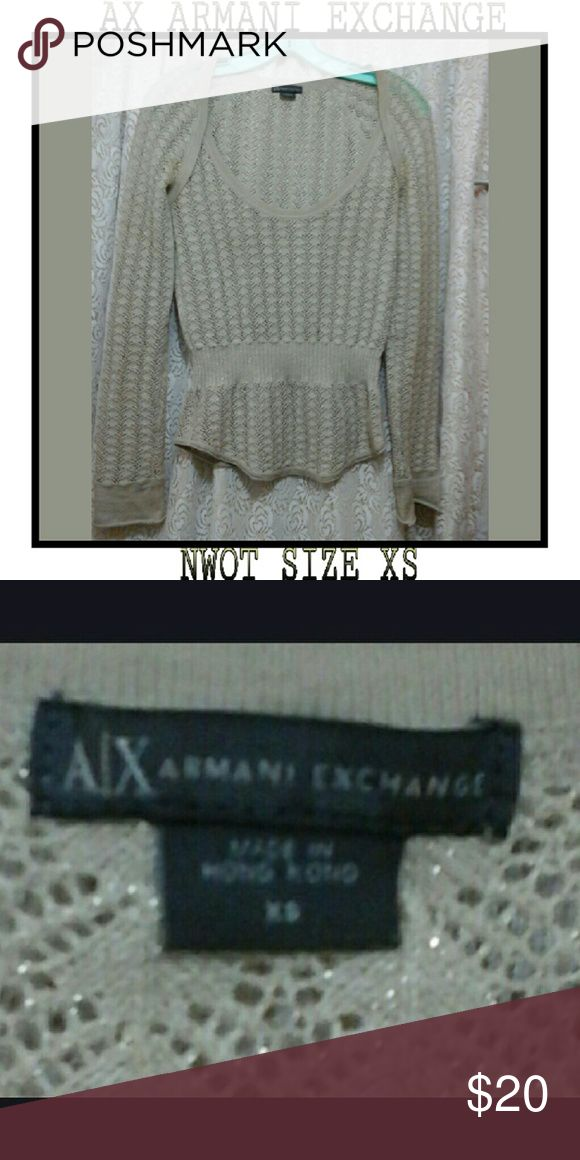 NWOT ARMANI EXCHANGE  LONG SLEEVED TOP New without tags,  Tan & gold metallic colored woven material , long sleeved blouse AX ARMANI EXCHANGE  Sweaters