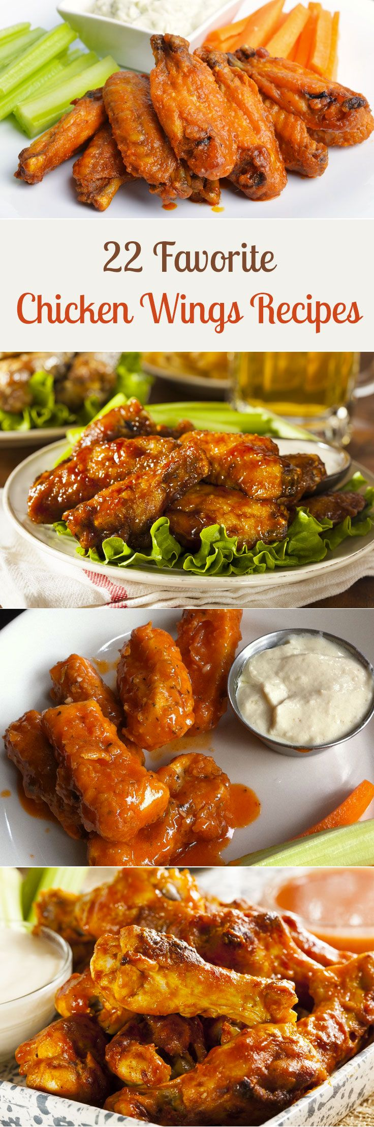 22 Favorite Chicken Wings Recipes including Buffalo, Baked, Paleo Glazed, Sriracha Hot Wings, Copycat Chili's Boneless Buffalo Wings, Honey Mustard, Slow Cooker Sticky Chicken Wings, Thai Curry, Sweet and Spicy Honey, Honey Soy, BBQ Ranch, Korean BBQ, Bourbon Spice Barbecue, Carmelized, Ginger Honey, Jamaican, and more!