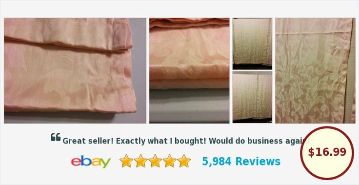 """Buy it Now! Always FREE SHIPPING! Curtains One Pair Lightweight Damask Look Soft Peach & Beige 42"""" X 84"""""""