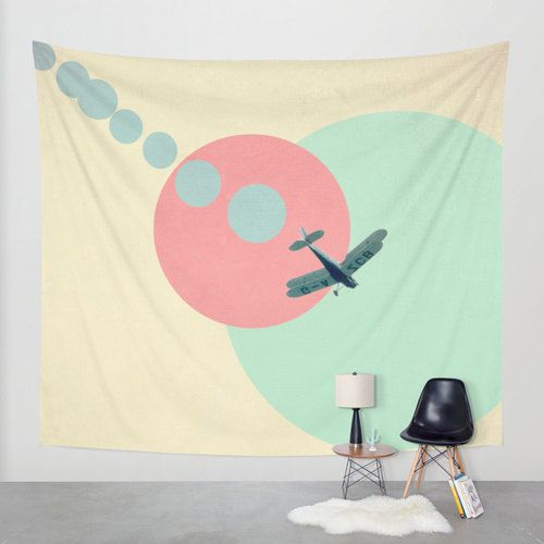 wall tapestry, large size wall art, wall decor, abstract tapestry, modern tapestry, wall hanging, airplane, plane, circles, dots, nursery