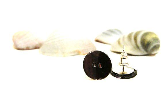 Grey black shell button earrings