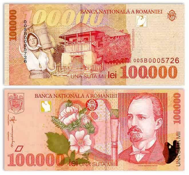 Romania 100000 Lei 1998 (N. Grigorescu; artist's brush)