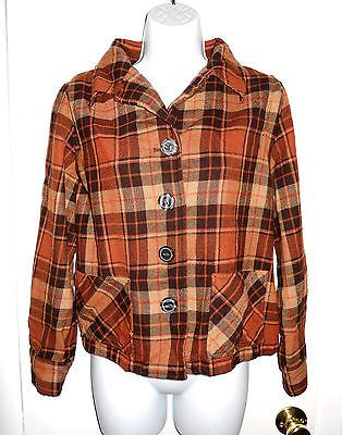 Country Clothes by Pendleton orange brown tartan plaid vintage 49ers jacket PM