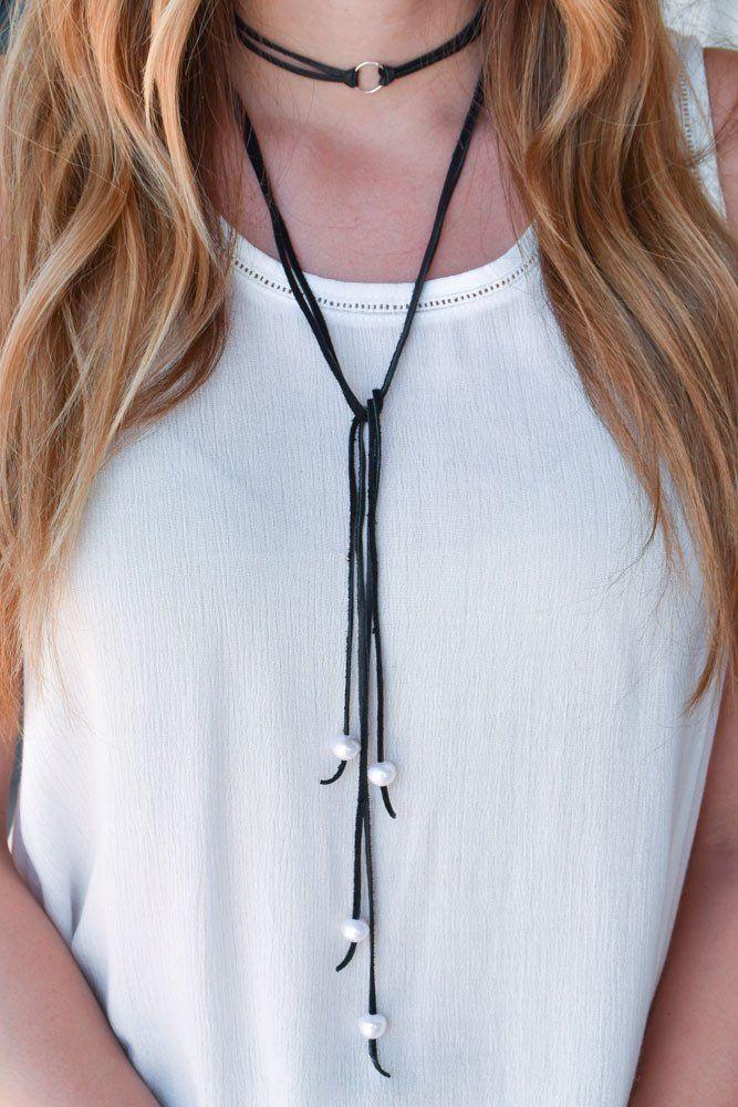 B. Alli Stetson Leather Double Wrap Choker