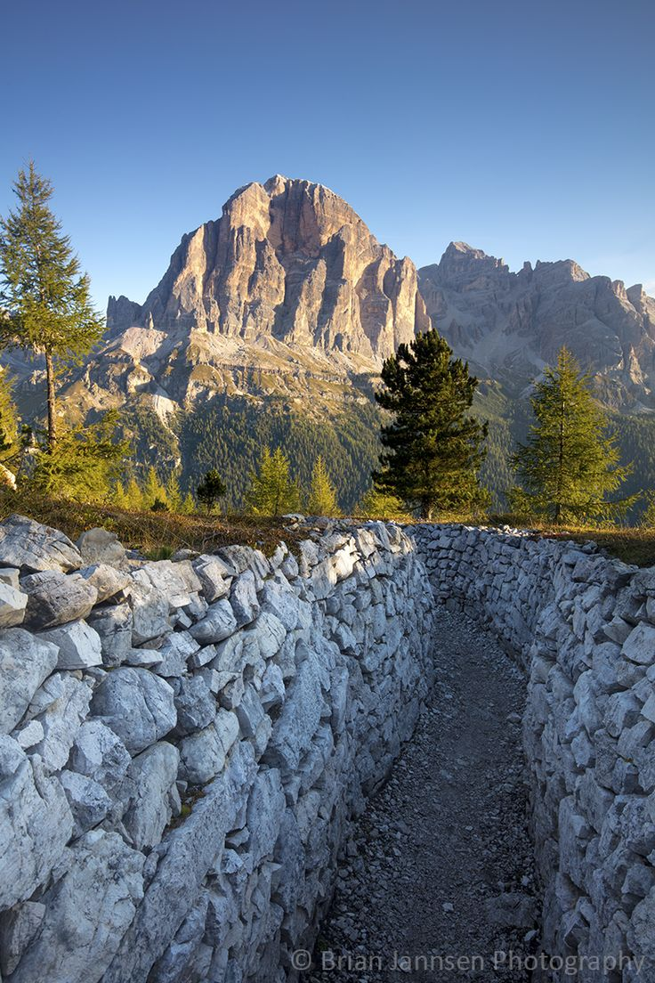 World War One trenches at Cinque Torri, Dolomites, Italy. © Brian Jannsen Photography