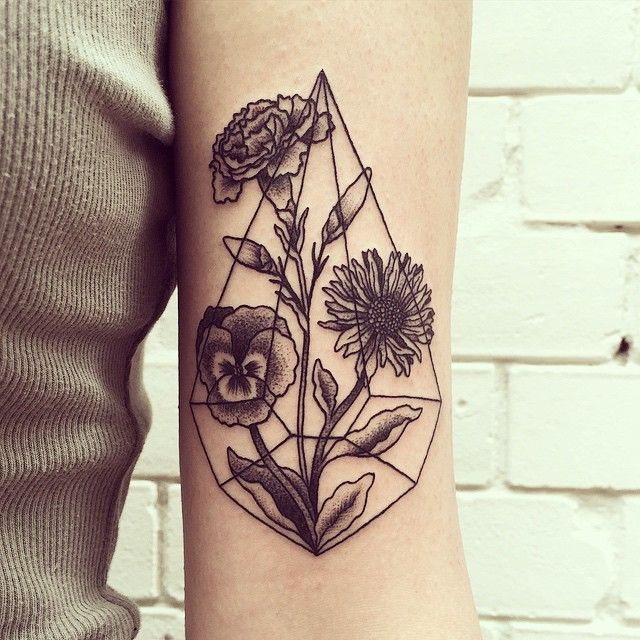 This but smaller and with my best friends birth month flowers