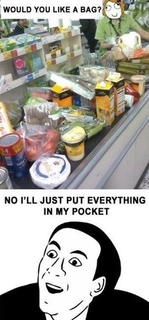 : Laughing, Memes, Plastic Bags, So True, Pockets, Funny Stuff, Funnies, Humor, Grocery Stores