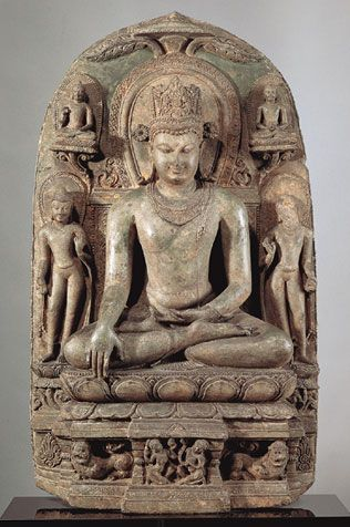 Crowned Buddha Shakyamuni  India, Bihar; Pala period (c.8th - 12th century), 11th century  In this depiction, an ornamented Buddha is surrounded by four smaller images of himself, each of which represents an important scene from his life. The placement of the inscription (the Buddhist consecratory formula) on the pedestal of the image rather than near the figure's head and its paleography suggests that it may be later in date than the image itself.