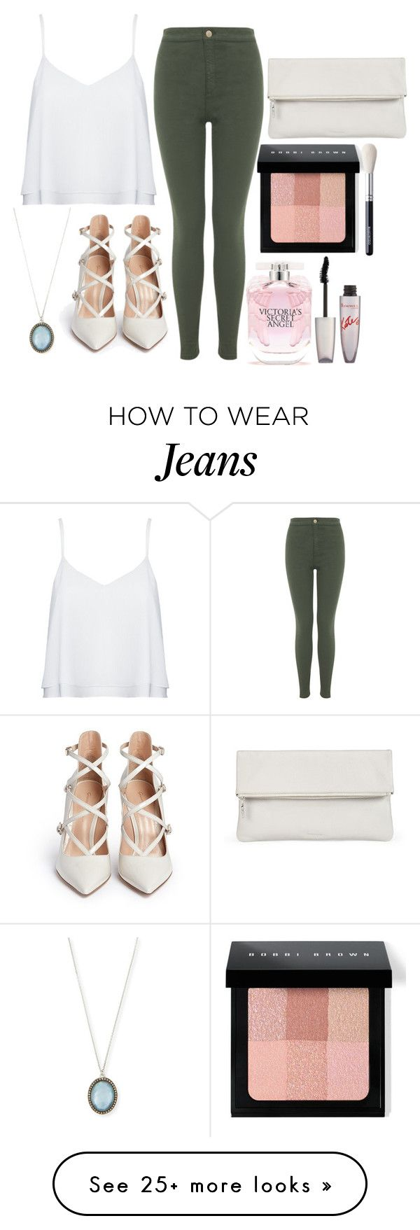 """olive jeans"" by sarahbiyrouti on Polyvore featuring Alice + Olivia, Miss Selfridge, Gianvito Rossi, Armenta, Victoria's Secret, Bobbi Brown Cosmetics, Rimmel, Whistles and white"