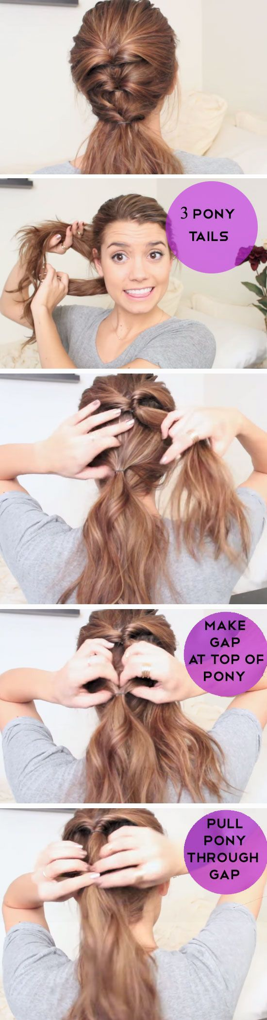 Triple Twist Pony | 18 Easy Running Late Hairstyles for School that will get you out of a fix!