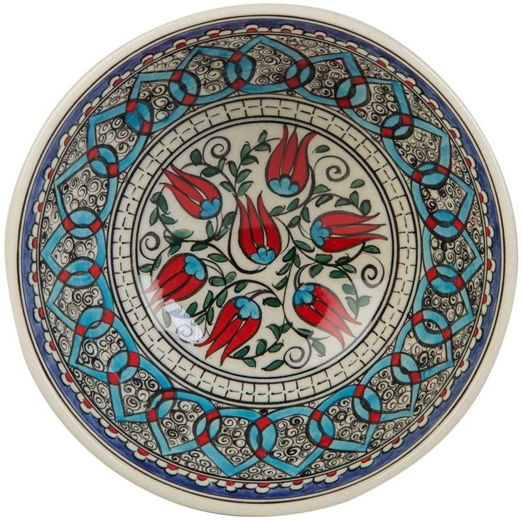 Ceramic Bowl with Tulip Patterns