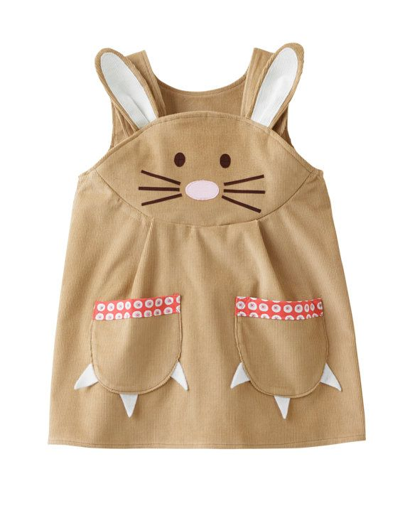 Ein bezauberndes Mädchen Ostern Hase Hase Kleid, handgemacht in weichsten hellblond gefärbt Baumwolle Cord, mit schönen Kaninchen Applique