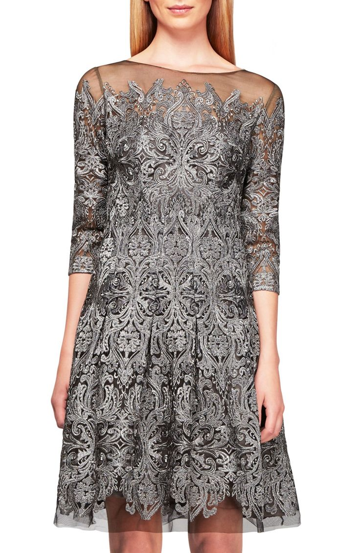 Kay Unger Embroidered Lace Fit & Flare Dress