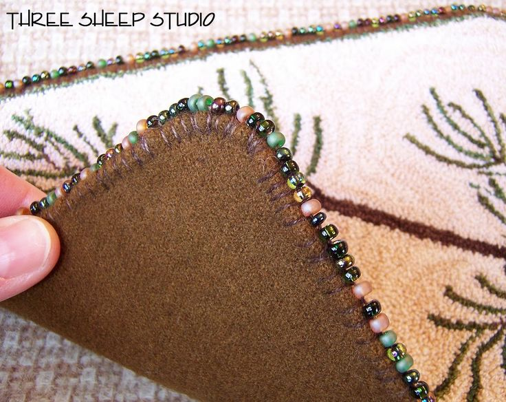 How To Add A Beaded Blanket Stitch, Finished Edge To Your Punch Needle Piece - Three Sheep Studio