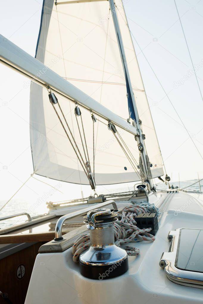 Yacht Ocean Sailing Ship White Sails Open Sea View Yacht Stock